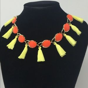 BEACH BRIGHT Orange Yellow TASSEL Choker Necklace